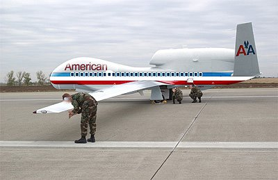 a US Global Hawk painted to look like an AA airliner. There is really no way to prove that this is NOT the very Global Hawk that would later leave behind its engine rotor on the Pentagon lawn.