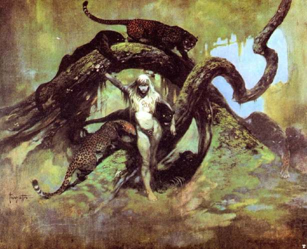 A vision of an alien world by Frank Frazetta.