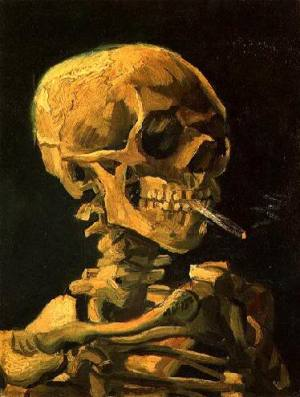 Vincent van Gogh, Skeleton Smoking A Cigarette, 1886 Oil on canvas, 32 x 24.5 cm Van Gogh Museum, Amsterdam, Netherlands