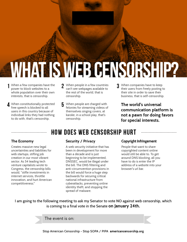 What is web censorship flyer