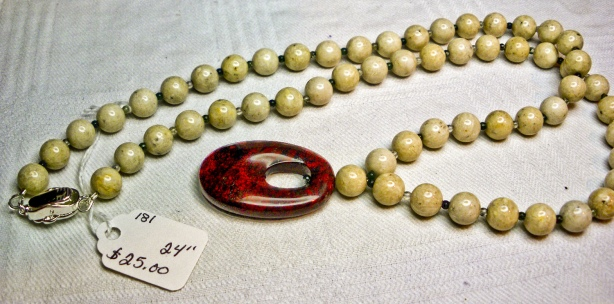 Necklace of Natural Fossil Stone with Jasper Pendant