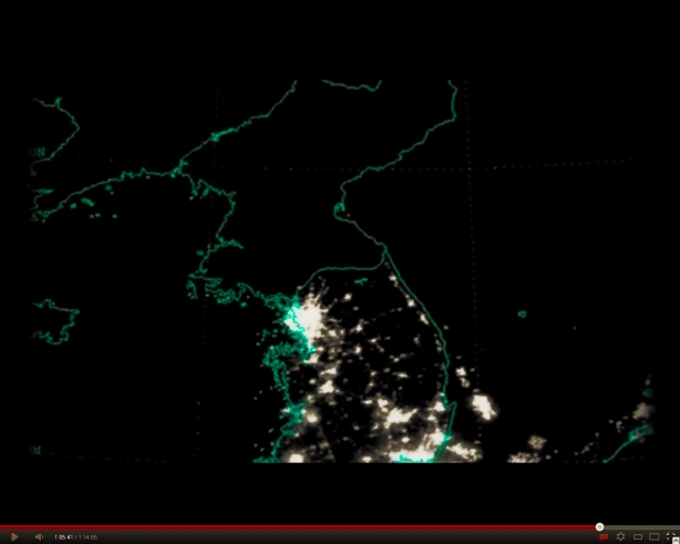 The DPRK, at night, from space. Click to enlarge.