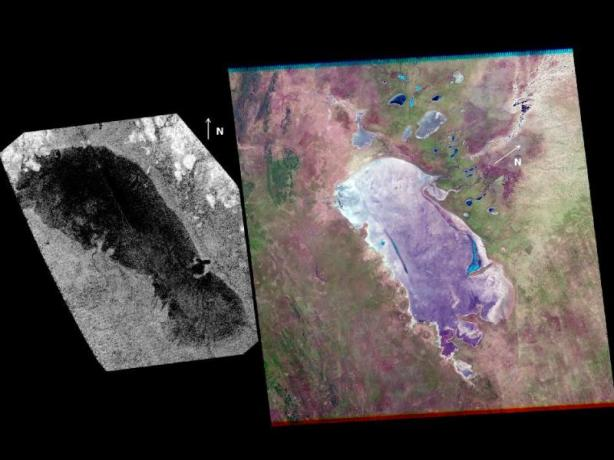 Lake on Titan by Cassini. (Credit: NASA/JPL-Caltech and NASA/USGS)