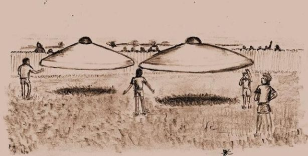 "Westall, drawing of two ufos as seen by ""V."""