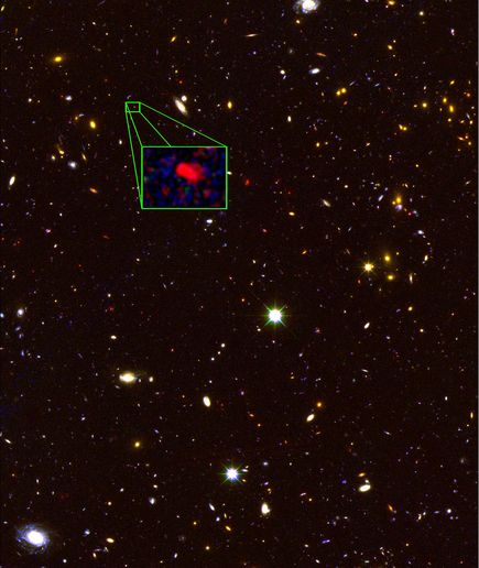 galaxy z8_GND_5296. Photograph by V. Tilvi (Texas A&M), S. Finkelstein (UT Austin), the CANDELS Team, and HST/NASA