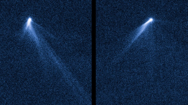 This NASA Hubble Space Telescope set of images from Sept. 10, 2013 reveals a never-before-seen set of six comet-like tails radiating from a body in the asteroid belt designated P/2013 P5. Image Credit: NASA, ESA, D.Jewitt/UCLA